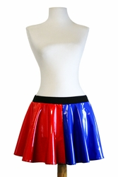 Red and Blue Vinyl Harley Quinn Circle Skirt (TEMPORARILY OUT OF STOCK)
