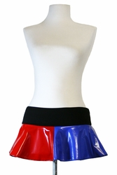 Red and Blue Vinyl Harley Quinn Micro Mini Skirt