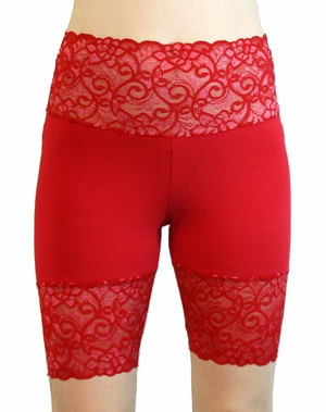 Bright Red Wide Waistband Stretch Lace Shorts (OUT OF STOCK)