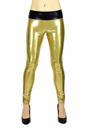 Shiny Black and Gold Metallic Leggings
