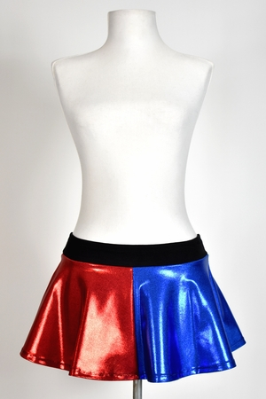 "Shiny Blue and Red Flared Skirt (10"" Long)"