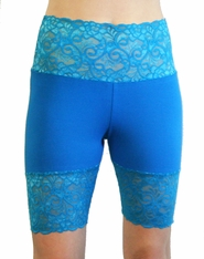 Teal Wide Waistband Stretch Lace Shorts (OUT OF STOCK)