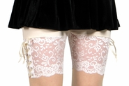 Ivory and Cream / Off-White Lace-Up Stretch Lace Shorts