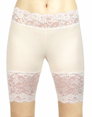 Ivory and Cream / Off-White Stretch Lace Shorts