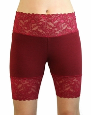 Burgundy Wide Waistband Stretch Lace Shorts (OUT OF STOCK)