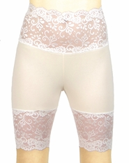 Cream and Ivory / Off-White Wide Waistband Stretch Lace Shorts