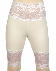 Wide Waistband Knee Length Ivory and Cream / Off White Stretch Lace Shorts