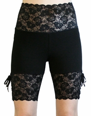 Wide Waistband Lace-Up Black Stretch Lace Shorts