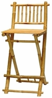 2 Tall Barstools Bamboo Chairs Folding Bar Stools