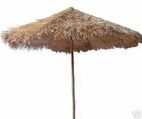 9ft Collapsible Bamboo Thatch Market Umbrella