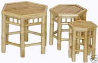 Hexagon 3 Piece Nesting Bamboo Plant Stands or Stools