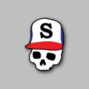 skull with hat - Racing Sticker - Vinyl Sticker