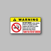 Warning - Do not smoke in this vehicle - Racing Sticker - Vinyl Sticker