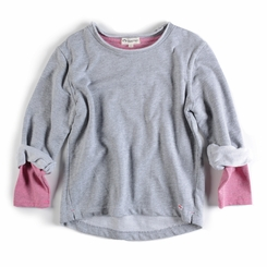 Appaman Girl Combo Sweatshirt in Heather Mist - <B>Last one size 8</B>