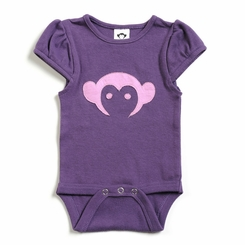 Appaman Short Sleeve Monkey Onesie in Purple Pebble - <b>Last one size 0-6M</b>