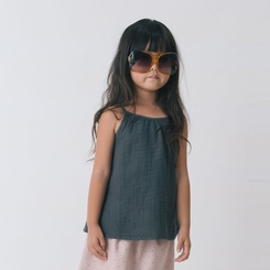Go Gently Baby Organic Gauze Top In Charcoal