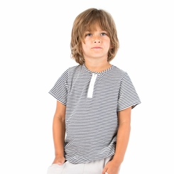 Go Gently Baby Organic Henley in Navy Stripe