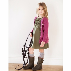 Go Gently Baby Organic Little Woven Dress in Army