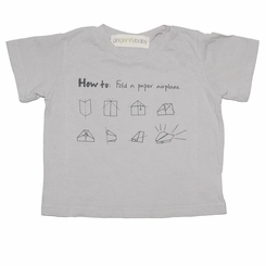 Go Gently Baby Organic Paper Airplane Tee in Pumice - <B>Last one size 8Y</B>