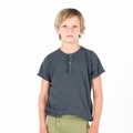 Go Gently Baby Organic Snap Henley in Charcoal