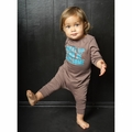 Joah Love Emerson Wake Up Baby Romper in Bark - <B>Last one size 6-12M</B>