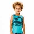 Joah Love Jared Camo Panel Tank Top in Aqua - <B>Last one sizes 8 & 10</b>