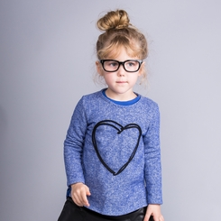 Joah Love Joanna Heart Hi Lo Sweatshirt in Atlantic  - <B>Last One Size 5T</B>