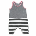 Joah Love Milo Striped Baby Romper in Pink - <b>Last one size 18-24M</B>