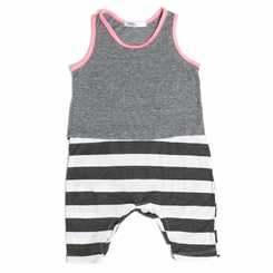 Joah Love Milo Striped Baby Romper in Pink - <b>Sold Out</B>