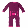 Kickee Pants Applique Coverall in Melody Hedgehog - <B>Last one size 0-3M</B>