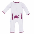 Kickee Pants Applique Coverall in Thistle Elephant - <B>Last one sizes 6-12M & 4T</B>