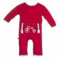 Kickee Pants Fitted Applique Coverall in Balloon Tricycle - <B>Last one size 0-3M</B>