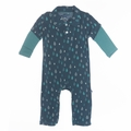 Kickee Pants Long Sleeve Polo Romper in Peacock Rain Drops - <B>Size 0-3M</B>