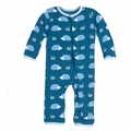 Kickee Pants Print Coverall in Peacock Hedgehog - <B>Last one Size 0-3M</B>