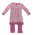 Kickee Pants Romper Dress in Amethyst Ancient Leaves - <B>Last One Size 0-3m</B>
