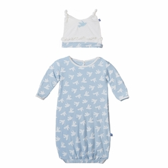 Kickee Pants Ruffle Layette Sack & Knot Hat Set in Pond Flying Birds - <B>Sold Out</B>