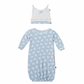 Kickee Pants Ruffle Layette Sack & Knot Hat Set in Pond Flying Birds - <B>Size 3-6M</B>