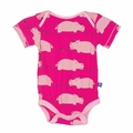 Kickee Pants Short Sleeve Onesie in Calypso Hippo - <B>Sold out</B>
