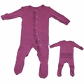 Kickee Pants Ruffle Bamboo Footie in Grapevine - <B>Last one Size 3T</b>