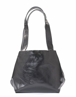 Kisim Timeless Women Cube Soft Leather Tote Handbag in Polished Black
