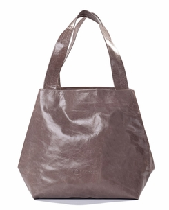Kisim Timeless Women Cube Soft Leather Tote Handbag in Polished Light Grey