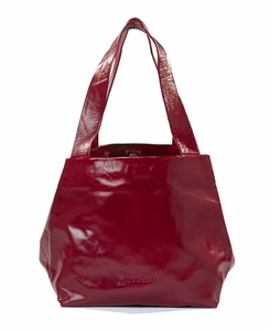Kisim Timeless Women Cube Soft Leather Tote Handbag in Polished Maroon