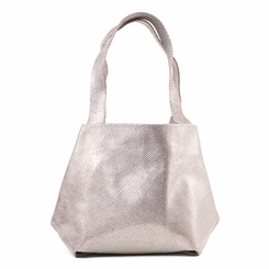 Kisim Timeless Women Cube Soft Leather Tote Handbag in Polished Silver
