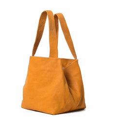 Kisim Timeless Women Cube Soft Leather Tote Handbag in Polished Yellow