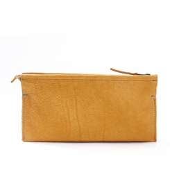 Kisim Timeless Women Double Soft Leather Purse in Yellow