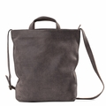 Kisim Timeless Women Large Daily Soft Leather Shoulder Handbag in Grey