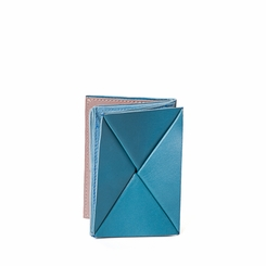 Kisim Timeless Women Origami Soft Leather Purse in Sky Blue