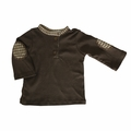 Kumquat Baby Solid Brown Henley - <b>Last one size 0-3M</B>