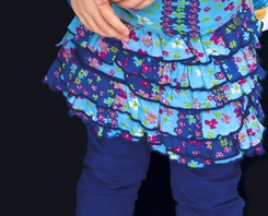 Mim Pi Dutch Blue Floral Tiered Skirt - <b>Last one sizes 4 & 5</b>