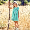 Mim Pi Green Dots Grecian Style Dress